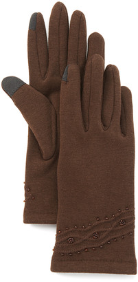 Jeanne Simmons Accessories Women's Casual Gloves Brown - Brown Bead Touchscreen Gloves
