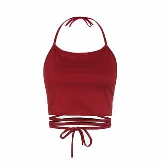 RODMA Shirt for Women Women Sleeveless Backless Vest Halter Tank Tops Blouse T-Shirt(Free Size