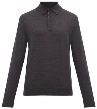 Paul Smith Long Sleeved Merino Wool Polo Shirt - Mens - Dark Grey