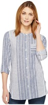 TWO by Vince Camuto - Variegated Stripe Collarless Linen Shirt Women's Long Sleeve Button Up