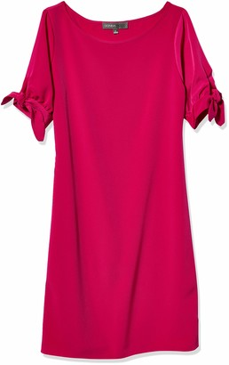 Donna Ricco Women's Elbow Sleeve Solid Crepe Shift Dress