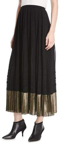 A-Line Pleated Plisse Long Skirt w- Metallic Hem