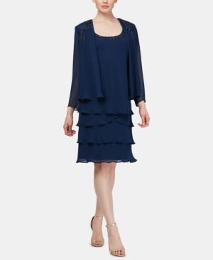 SL Fashions Petite Embellished Tiered-Hem Dress & Jacket