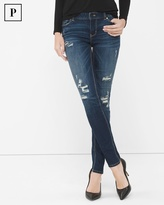 White House Black Market Petite Destructed Sequin Skinny Jeans
