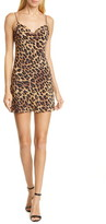 Alice + Olivia Harmony Leopard Print Drape Neck Slipdress