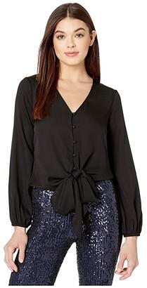 Milly Stretch Silk Elizabeth Top (Black) Women's Clothing
