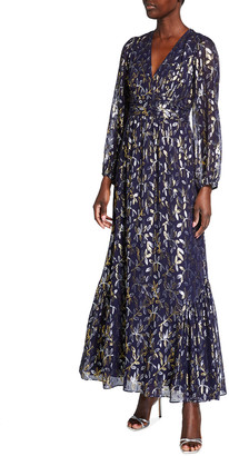 Shoshanna Eliza Metallic Leaf Chiffon Maxi Dress