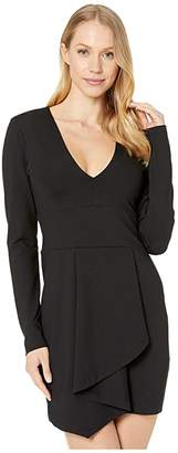 Susana Monaco Long Sleeve Folded Cascade Front Dress (Black) Women's Clothing