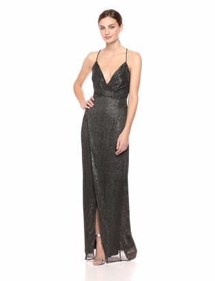 Keepsake Women's Now & Then Shiny Lurex Long Dress Wrap Gown