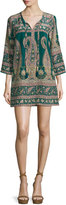 Calypso St. Barth Lohia Paisley Silk 3/4-Sleeve Shift Dress