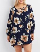 Charlotte Russe Plus Size Floral Lattice Shift Dress