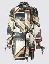 M&S Collection Geometric Print Longline Long Sleeve Shirt