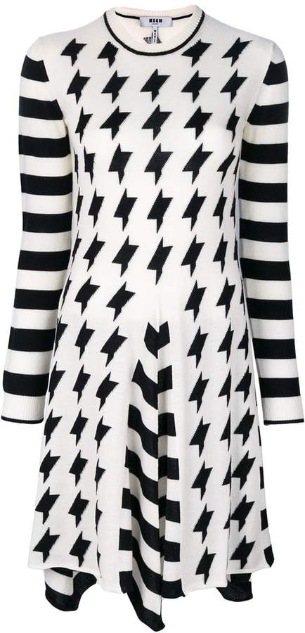 MSGM roll neck contrast dress