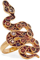 Percossi Papi 9-karat Gold And Enamel Garnet And Amethyst Ring