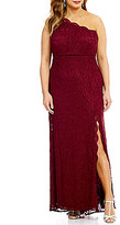 Morgan & Co. Plus Glitter Lace Scalloped One-Shoulder Long Dress