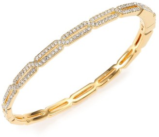 Adriana Orsini Goldtone Pave Crystal Long Hexagon Bangle Bracelet