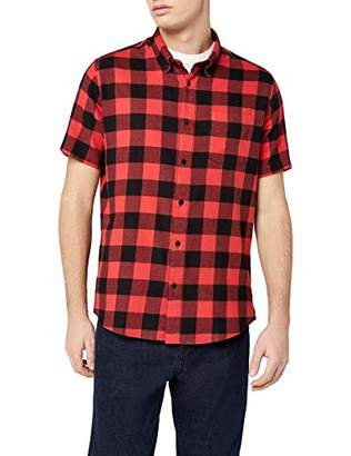 Off-White find. Brushed Flannel Check Short Sleeve Shirt, Ecru/Black), (Size: XX-Large)