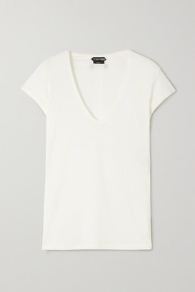 Tom Ford Stretch-linen T-shirt - White