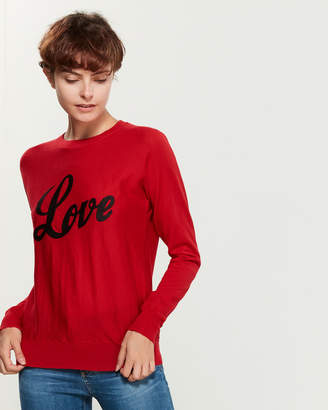 Zadig & Voltaire Red & Black Love Long Sleeve Wool Sweater