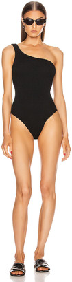 Hunza G Nancy Swimsuit in Black Crinkle | FWRD