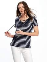 Old Navy Slub-Knit Lace-Up Tunic Tee for Women