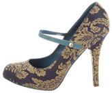 Dolce & Gabbana Embroidered Mary Jane Pumps