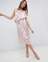 Asos Design DESIGN Midi Ruffle Dress In Soft Jacquard