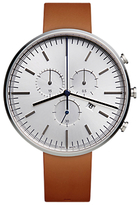 Uniform Wares M42psinaptan1818r01 M42 Chronograph Date Leather Strap Watch, Tan/silver