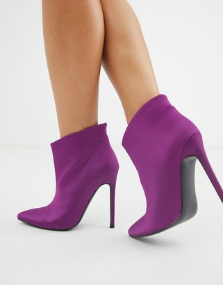 ASOS DESIGN Effortless pull on ankle boots in purple