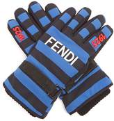 Fendi Striped logo-print gloves