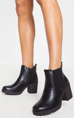 PrettyLittleThing Black Cleated Chelsea Ankle Boots