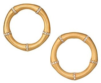 Dean Davidson 22K Yellow Goldplated & Pave Front-Facing Bamboo Hoop Earrings