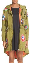 Moschino Women's Flower Patch Embroidered Parka