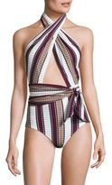 Karla Colletto Swim Palazzo One-Piece Halter Swimsuit
