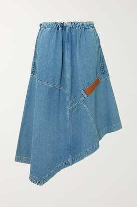 Loewe Asymmetric Leather-trimmed Denim Midi Skirt - Indigo