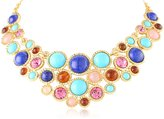 Kenneth Jay Lane Gold, Turquoise, Lapis, and Multi-Stone Bib Necklace