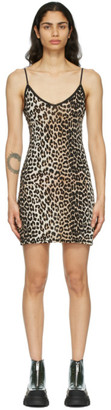 Ganni Black and Brown Leopard Slip Dress