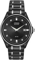 Citizen Eco-Drive Mens Diamond-Accent Black Stainless Steel Watch AU1054-54G