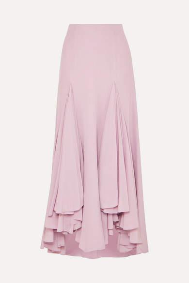 Giorgio Armani Waterfall Ruffled Asymmetric Silk-crepe Skirt - Pink