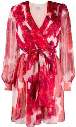 Blumarine rose print wrap dress