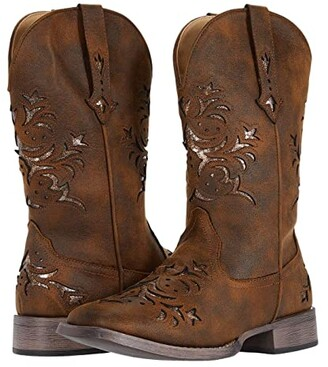 Roper Kennedy (Cognac Faux Leather/Metallic Copper Underlay) Cowboy Boots
