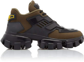 Prada Combat Leather-Trimmed Mesh And Rubber Sneakers Size: 36.5
