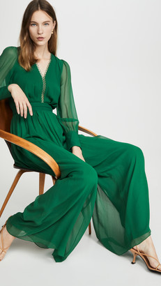 Costarellos Long Sleeve Silk Chiffon Jumpsuit with Tonal Belt