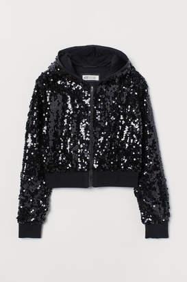 H&M Sequined Hooded Jacket - Black