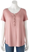 Pink Republic Juniors' Pink Republic Lace-Up Swing Tee