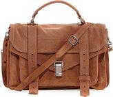 Proenza Schouler PS1 Medium Suede Satchel Bag, Brown