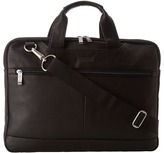 """Kenneth Cole Reaction Colombian Leather - 2.5"""" Double Gusset Top Zip Computer Case"""