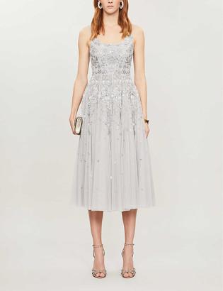 Snowflake sequin-embellished tulle midi dress