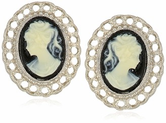 1928 Jewelry Women's Silver-Tone Black Cameo Oval Filigree Clip Button Earrings