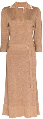 Chloé Beige Wool And Silk Belted Midi Dress